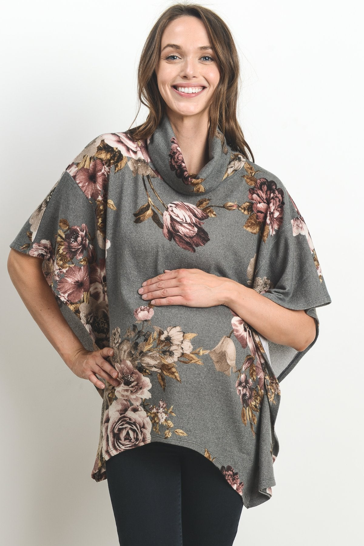 Floral Cover Up Poncho Maternity Sweater