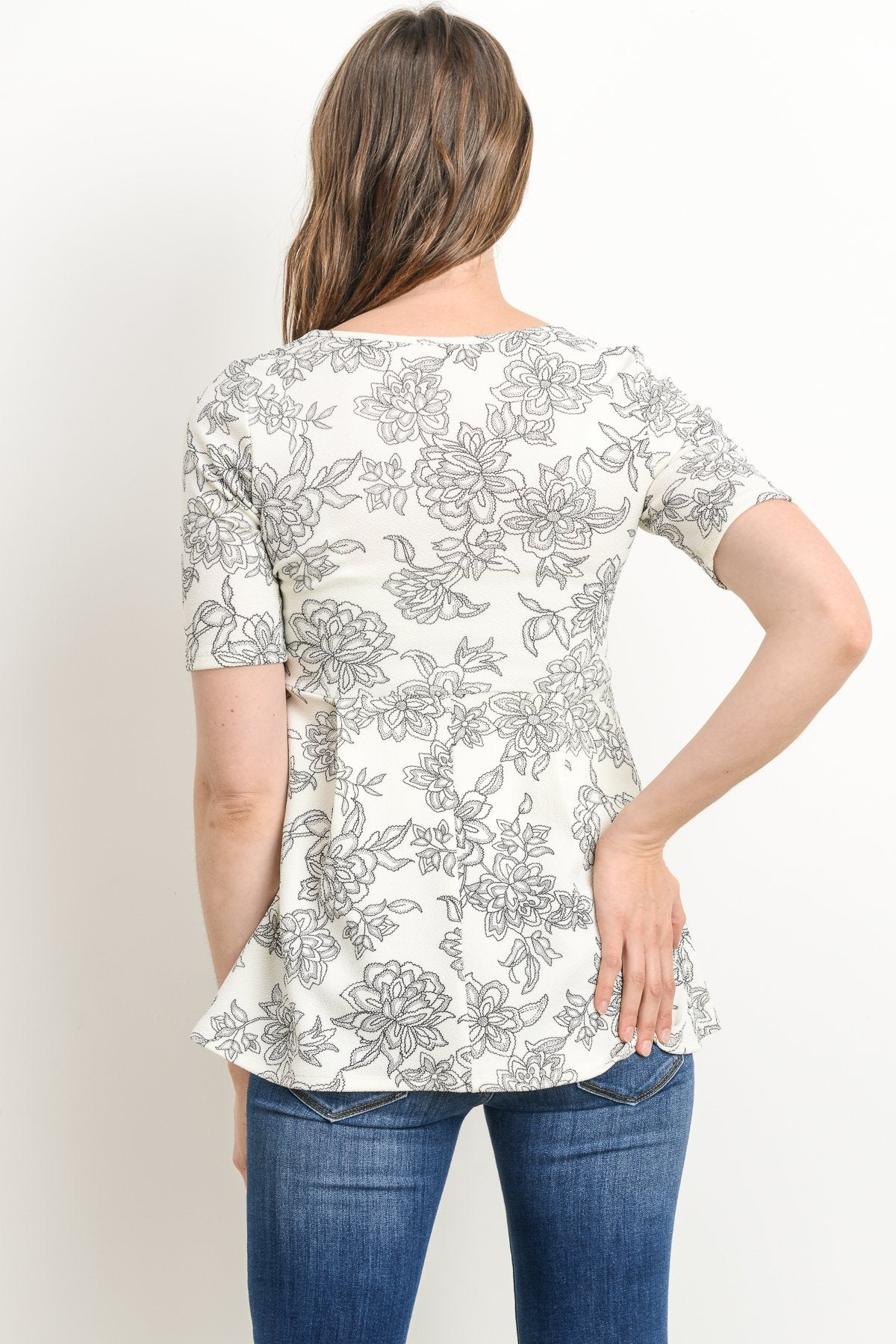 Subtle Floral Peplum Maternity Top