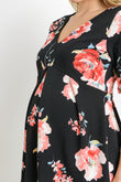 Floral Peplum V-Neck Maternity Top