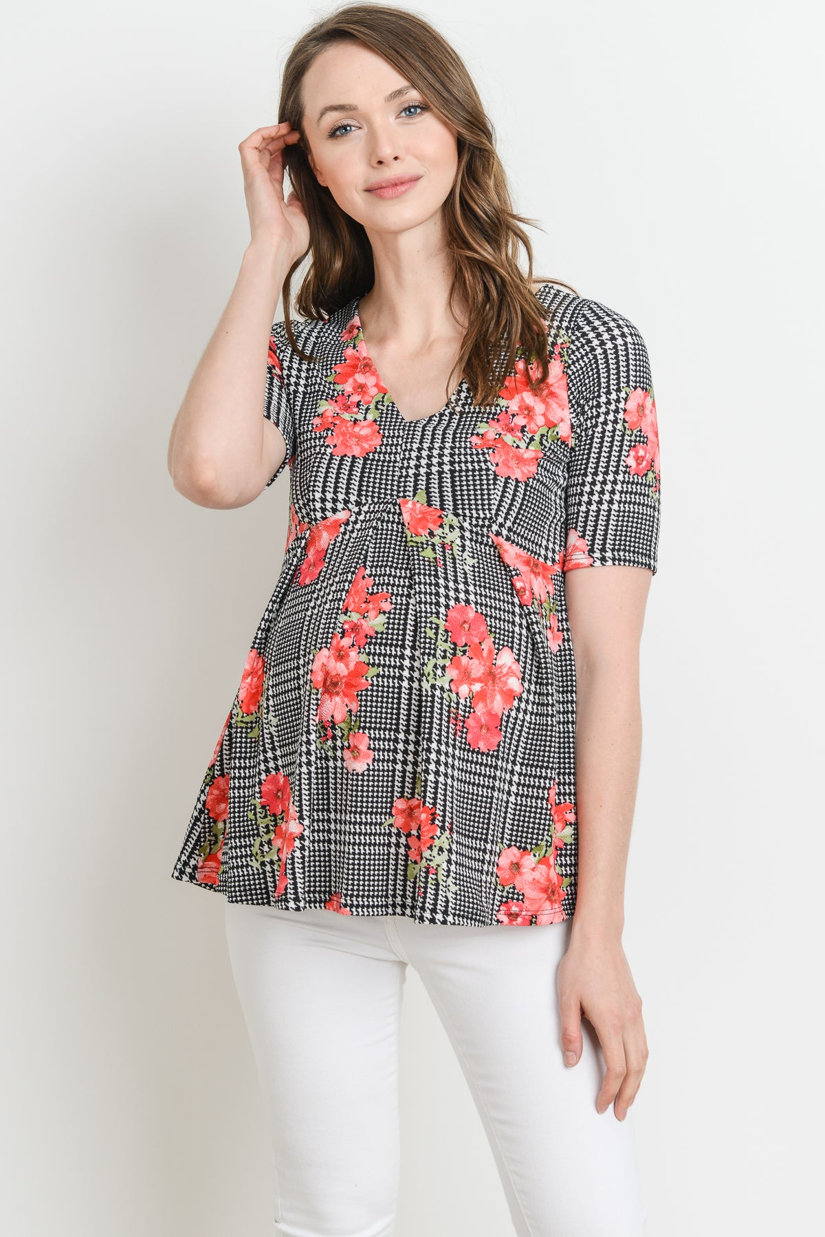 Striped Plaid Floral Peplum Maternity top