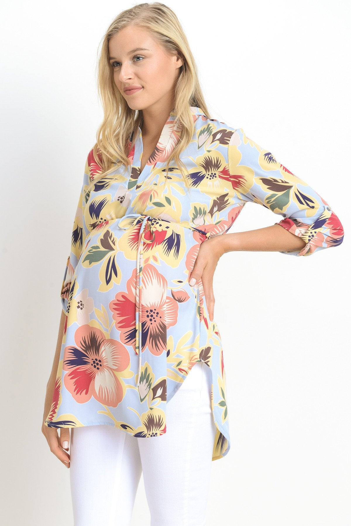 Floral High Low Maternity & Nursing Tunic Top