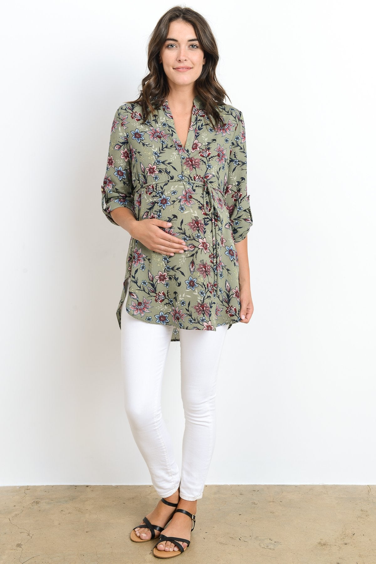 Floral Tie-Waist Maternity Notch Neck Tunic Top