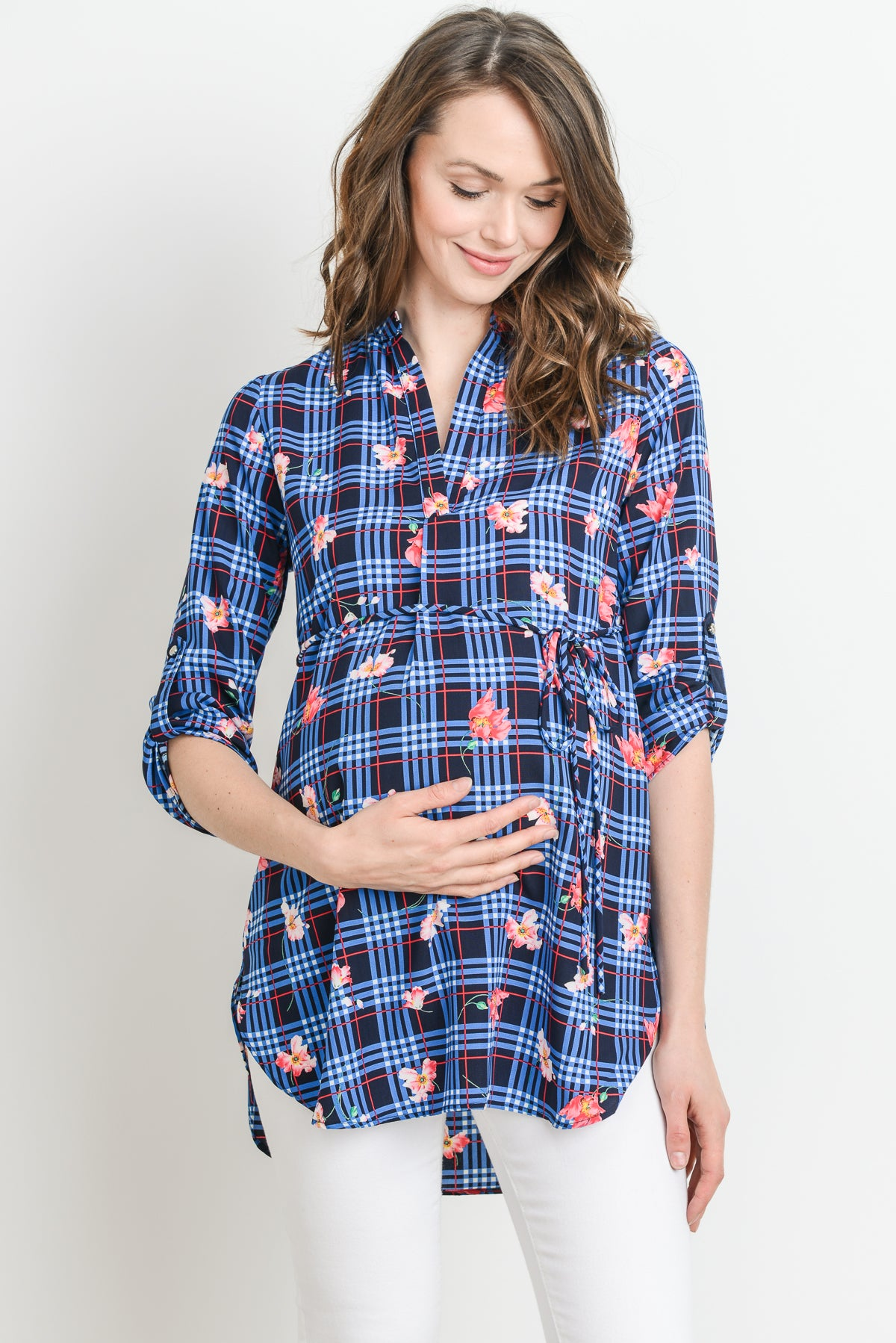 Mandarin Collar Roll-Up Sleeve Plaid Maternity Blouse