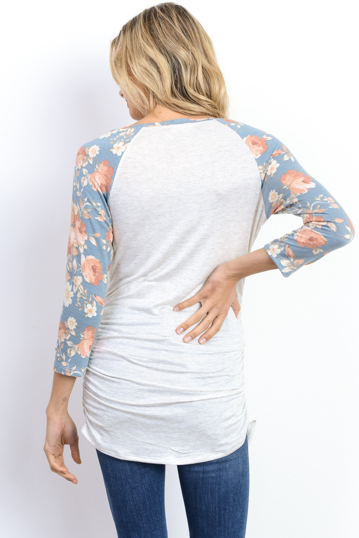 Floral Sleeve Raglan Maternity Long Tee