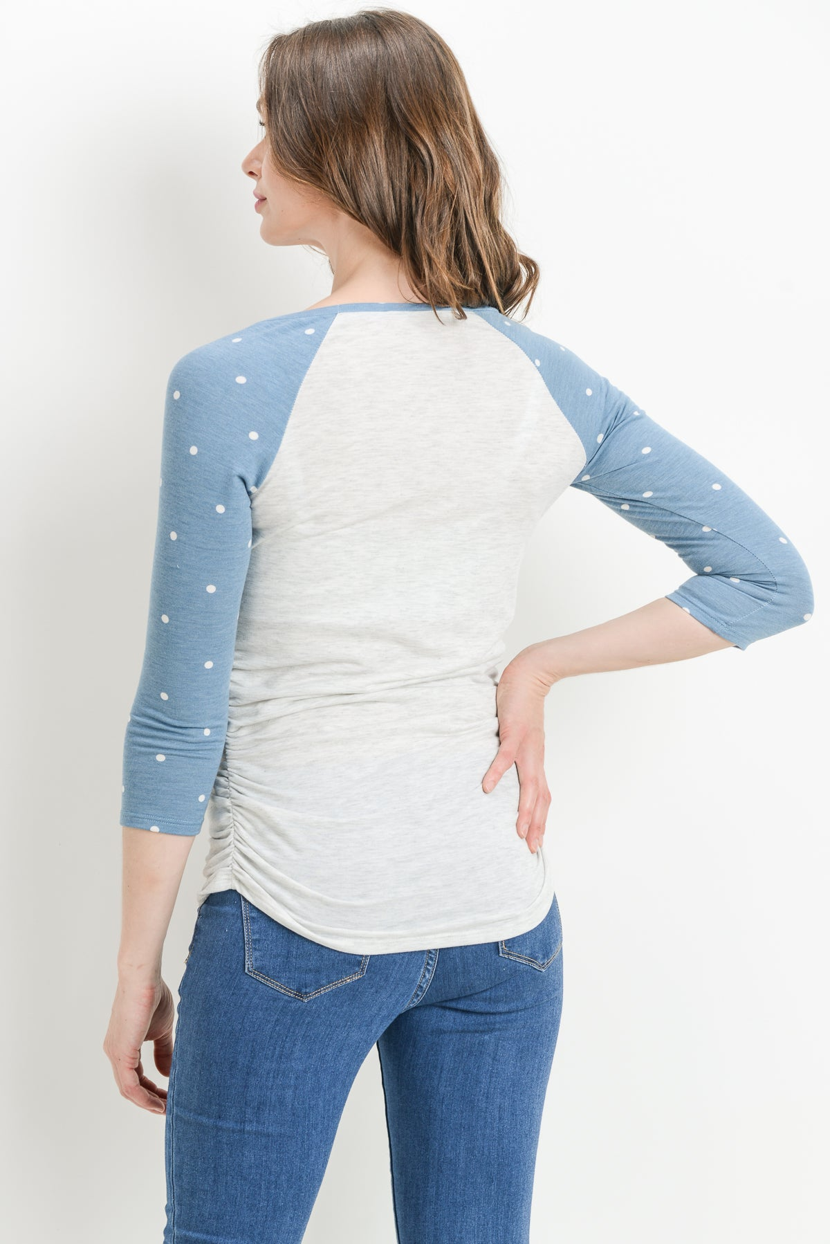 Polka Dot Sleeve Raglan Maternity Top