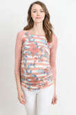 Floral Raglan Maternity Tee, Striped