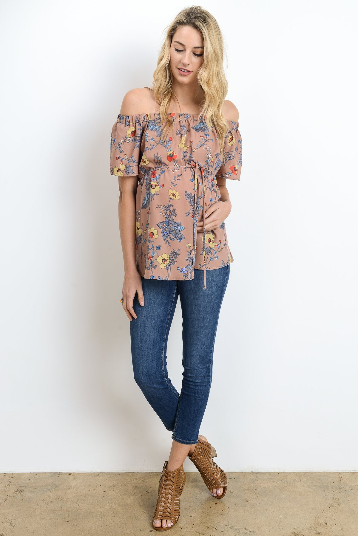 Off The Shoulder Floral Maternity Top