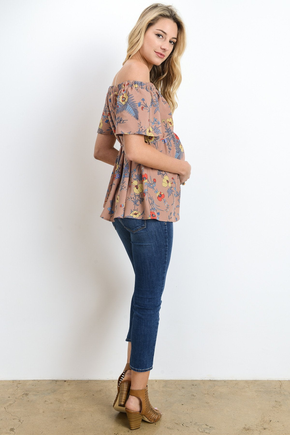 Floral Tie-Waist Maternity Off-Shoulder Top