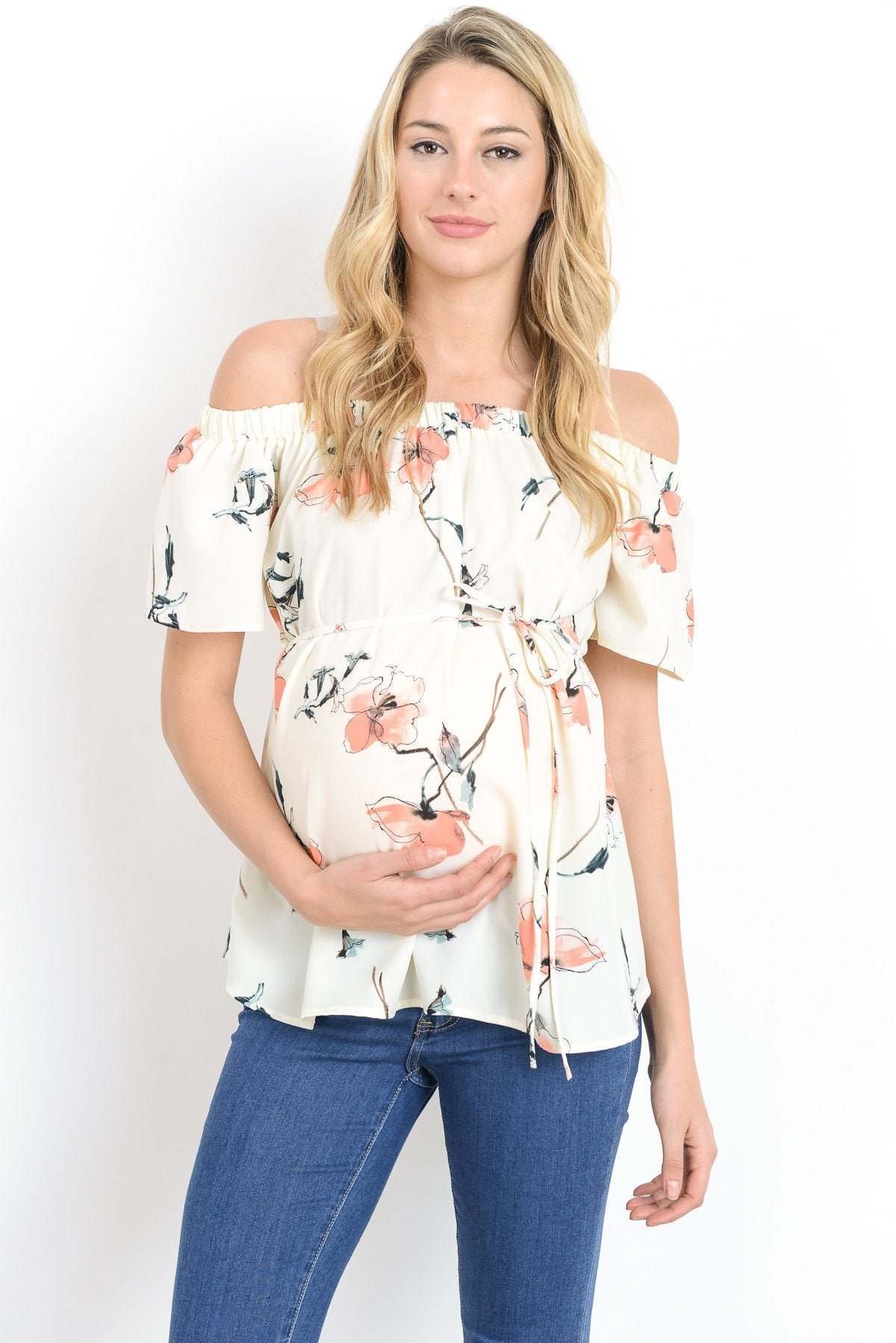 Off Shoulder with Tie String Maternity Top