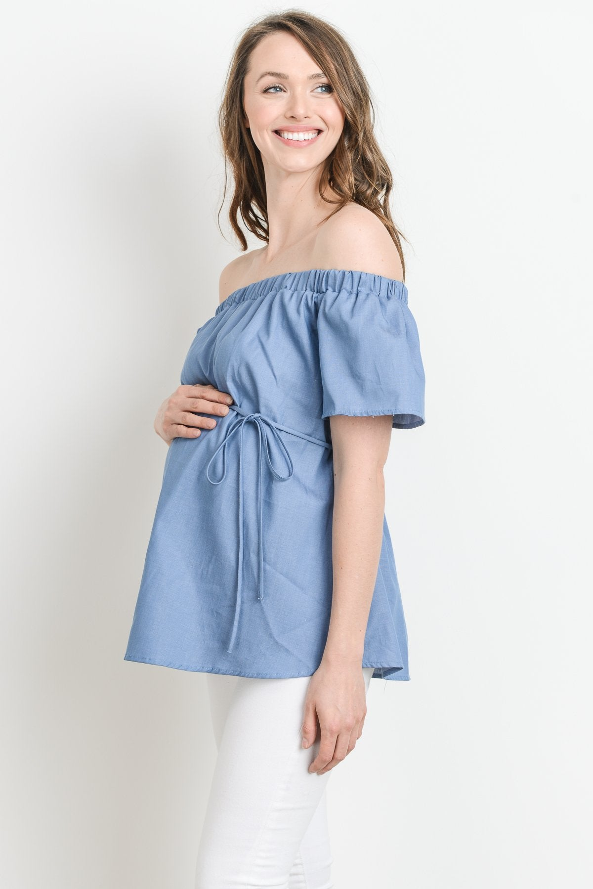 Cotton Off Shoulder with Tie String Maternity Top