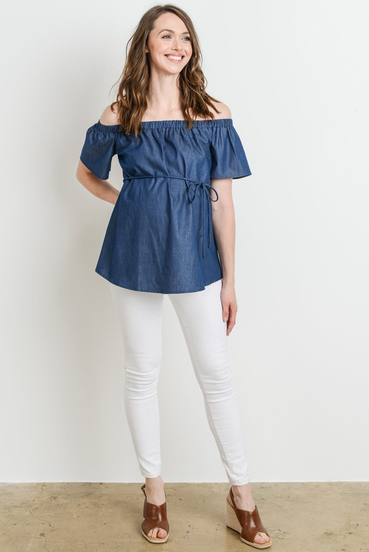 Tie-Waist Maternity Off-Shoulder Top