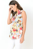 Plunging Mandarin Collar Sleeveless Maternity Blouse