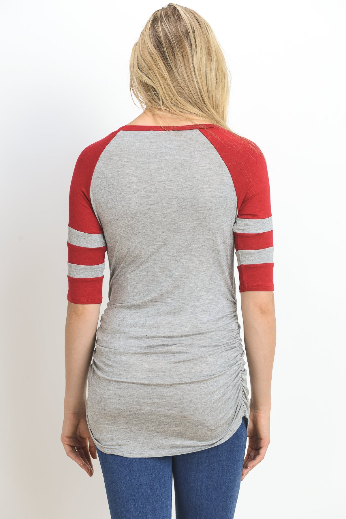 Striped Baseball Raglan Maternity Top