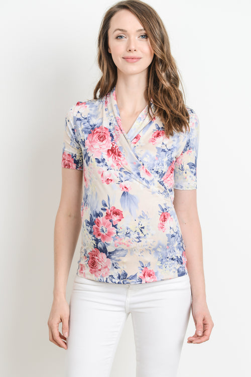 Floral Maternity & Nursing Surplice Top