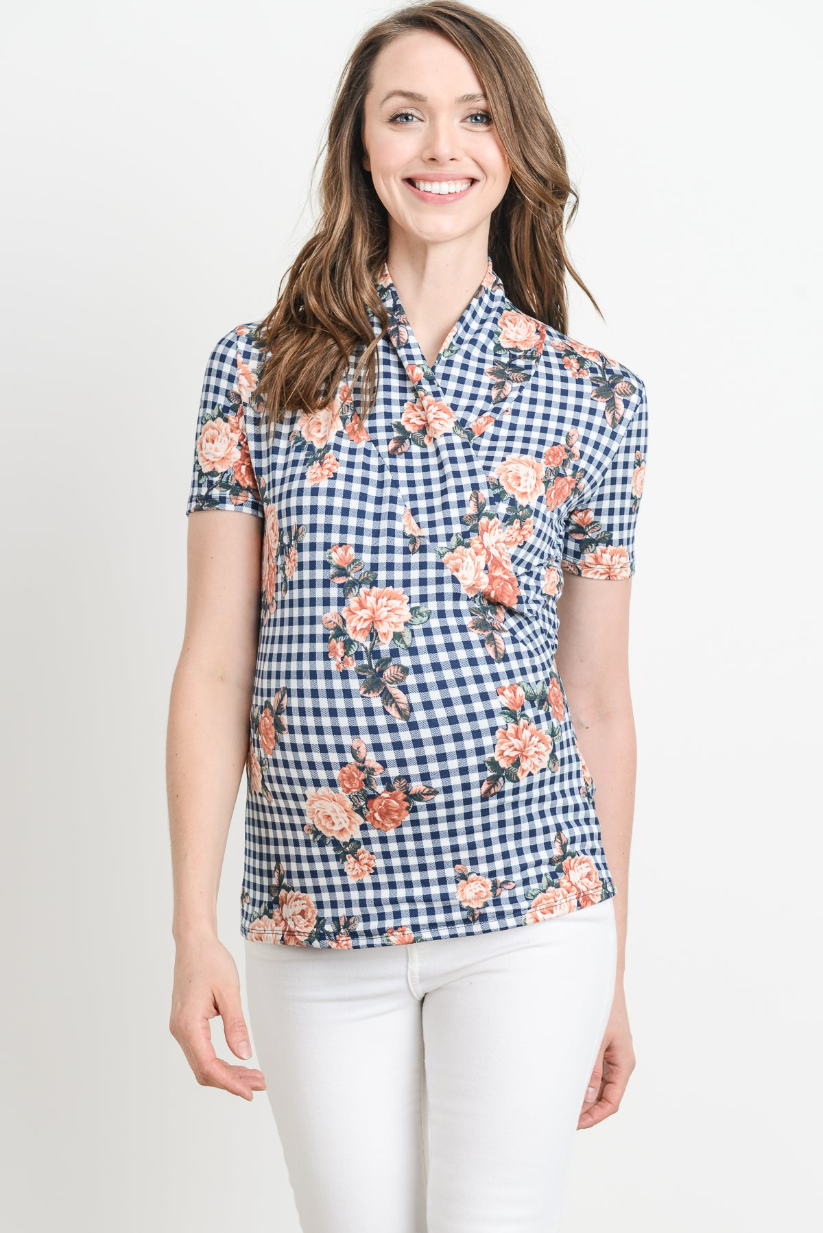 Checkered Flower Surplice Maternity & Nursing Top