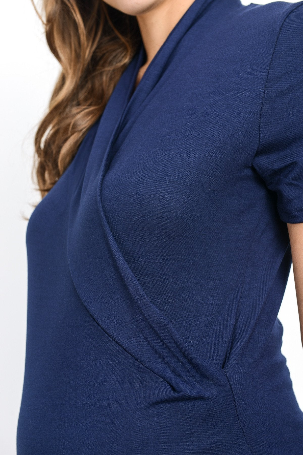 Short Sleeve Maternity & Nursing Surplice Top