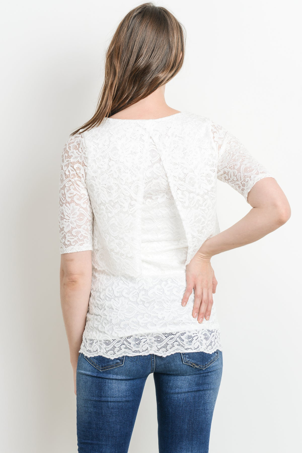 Layered Lace Maternity & Nursing Top