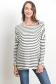 Striped Dolman Sleeve Round Neck Top
