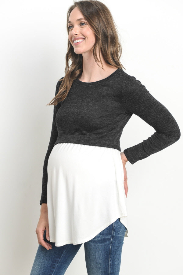Sweater Knit Maternity & Nursing Tunic Top