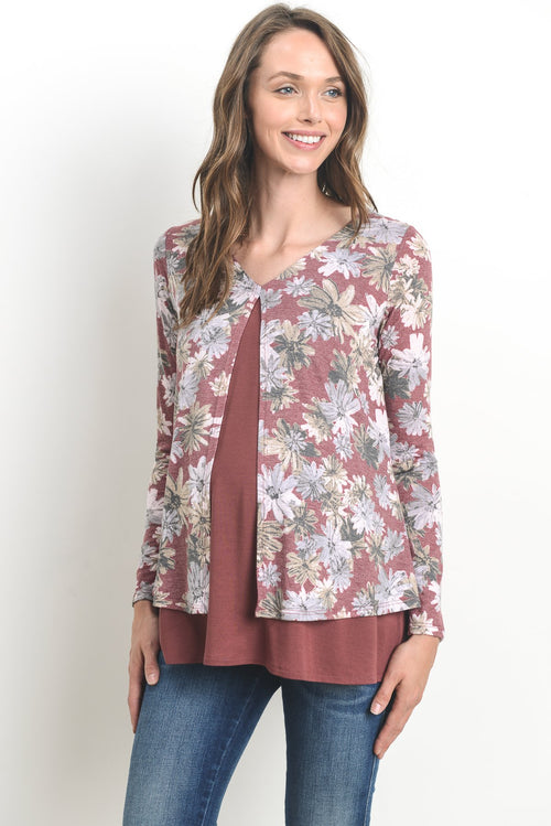 Floral Double Layered Maternity & Nursing Top