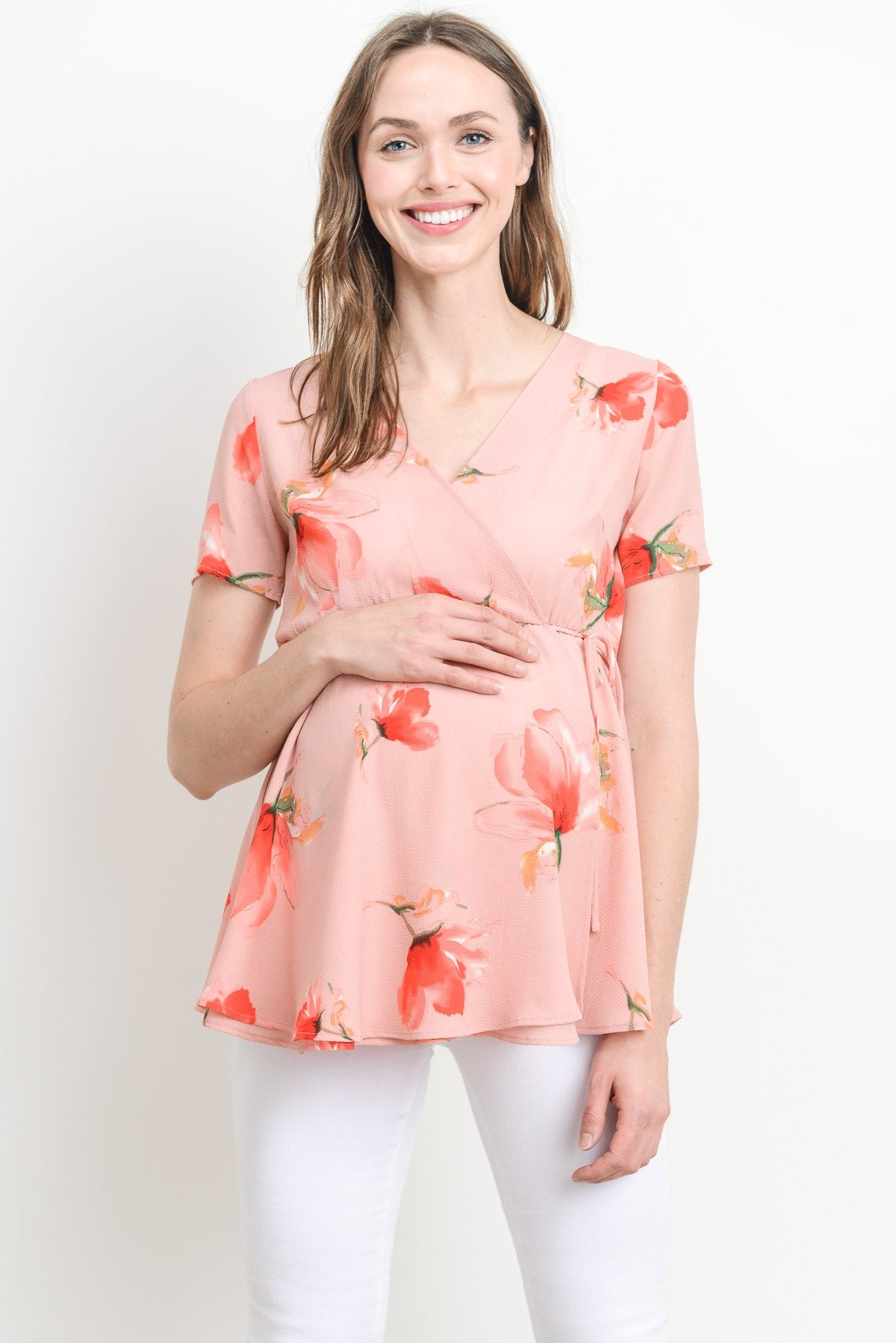 Emma Floral Maternity & Nursing Surplice Top