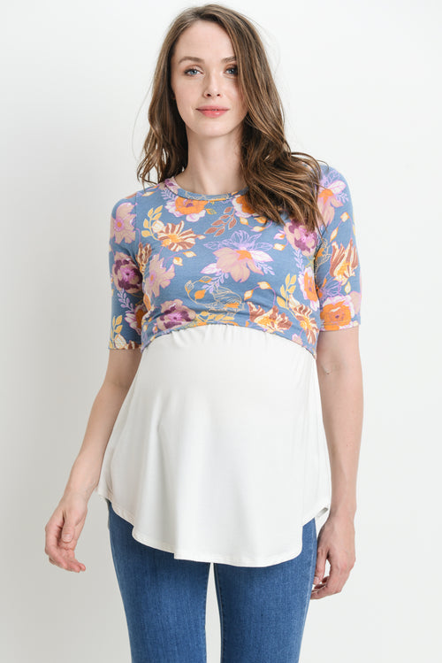 Floral Color Block Maternity & Nursing Tunic