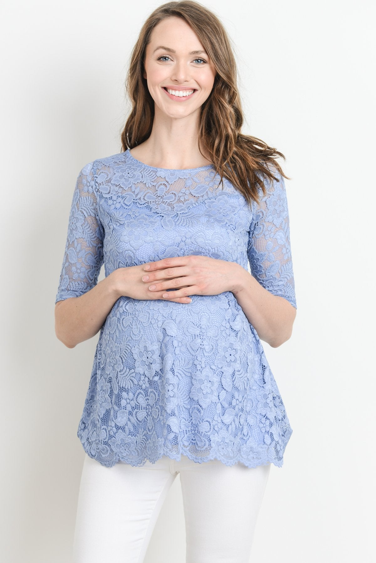 Lace Draped Empire Waist Maternity Top