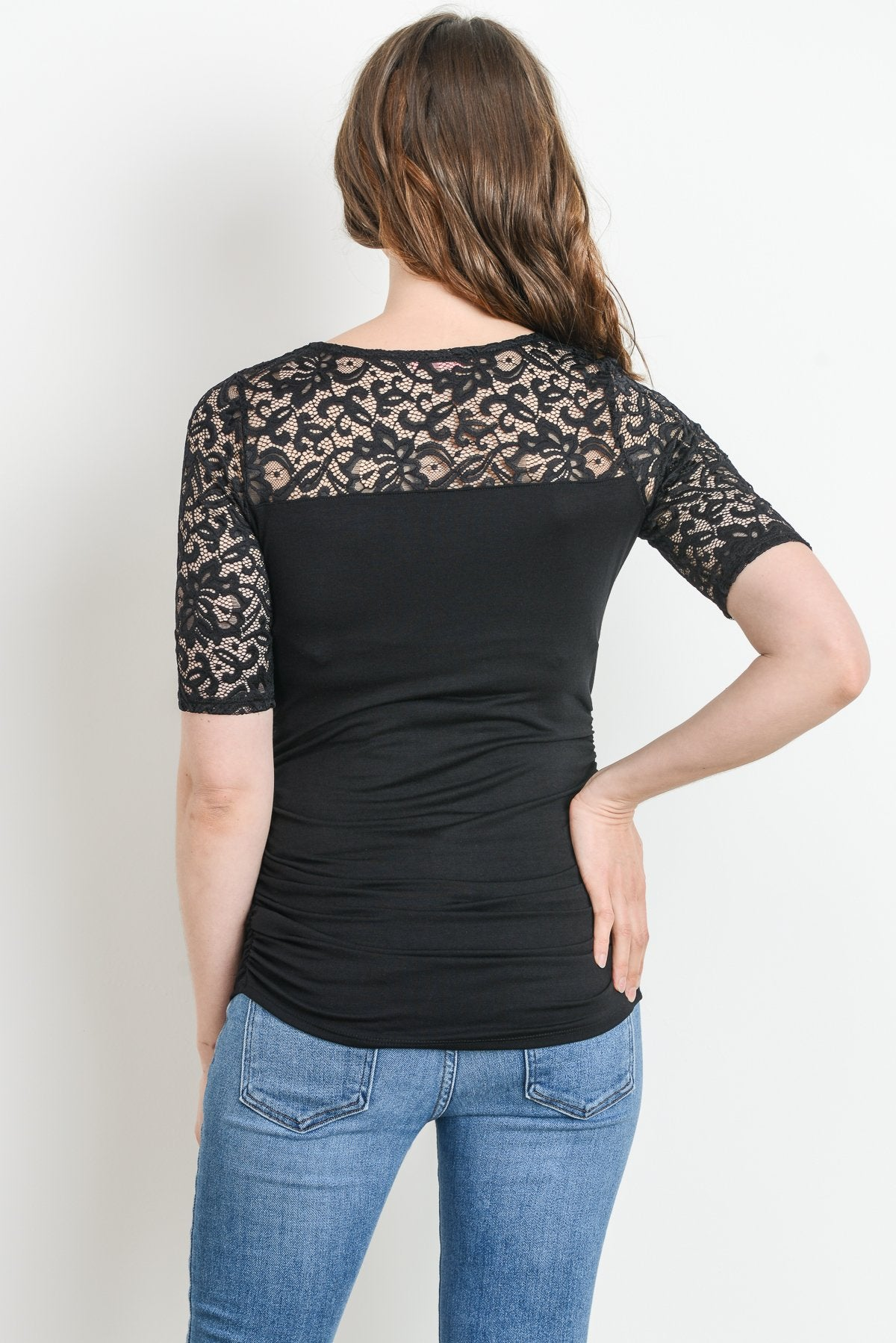 Lace and Draped Jersey Maternity & Nursing Top