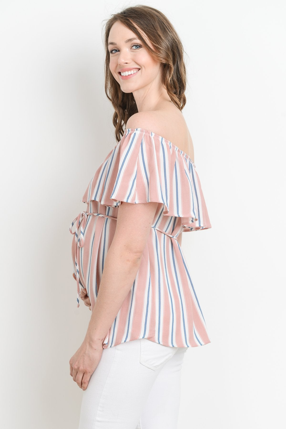 Striped Off Shoulder Ruffle Maternity Top