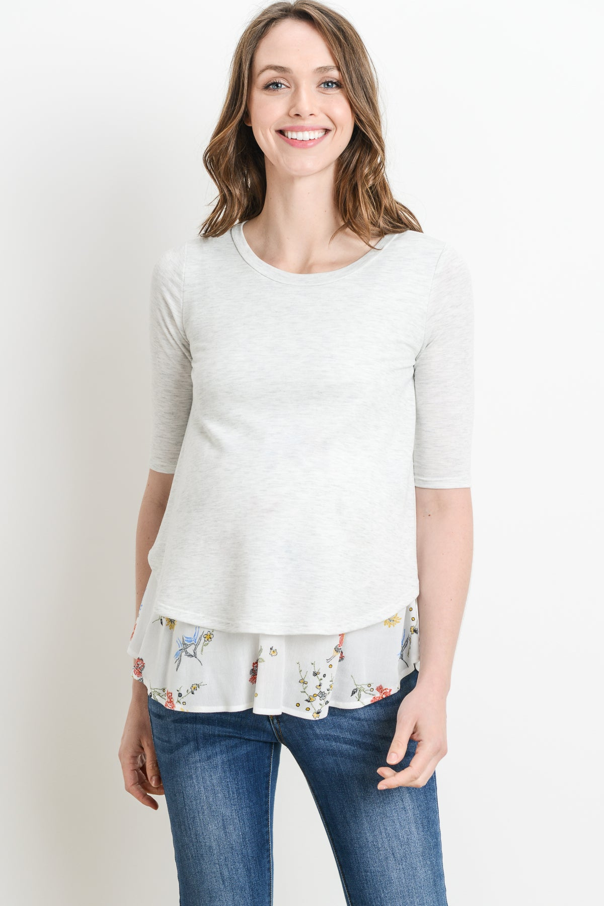 Delicate Flowers Layered Maternity & Nursing Top