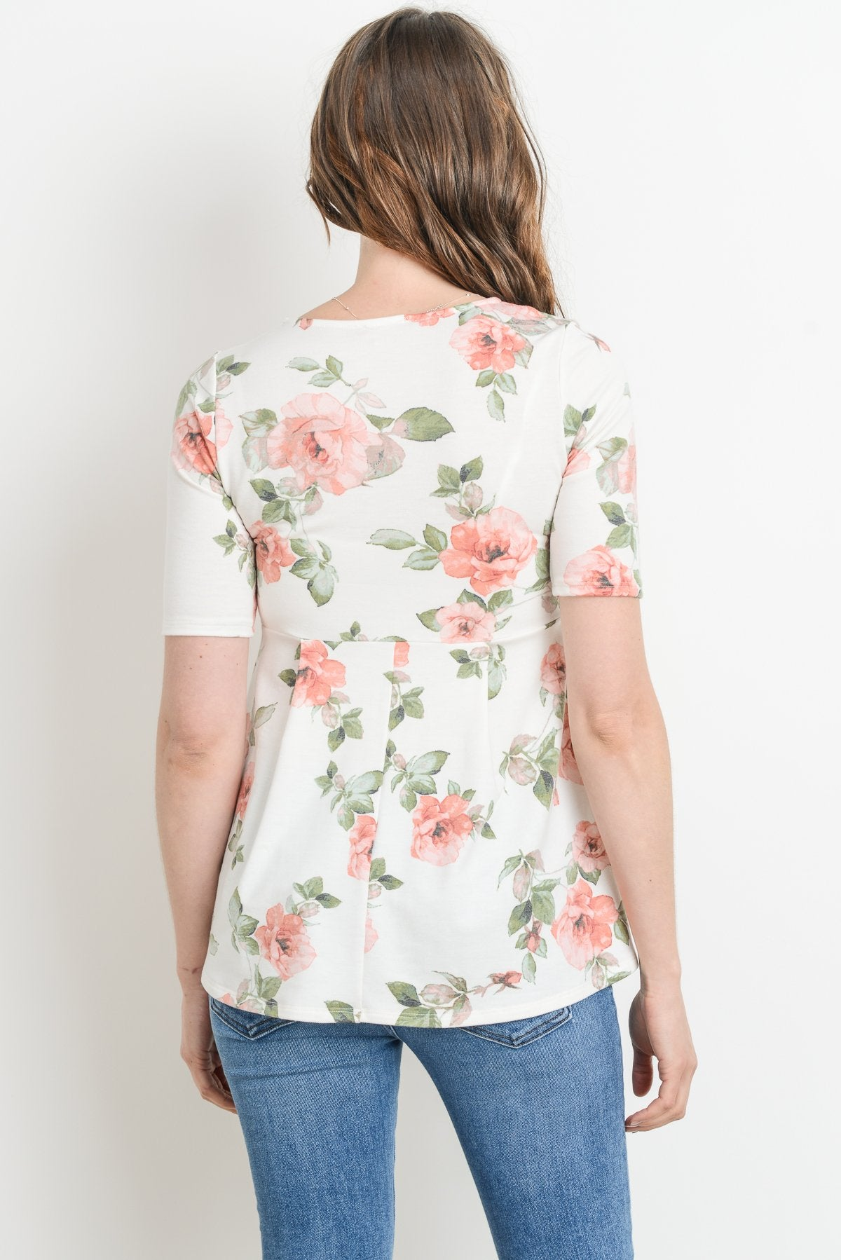 Quarter Sleeve V-Neck Floral Print Maternity Top with Front Pleats