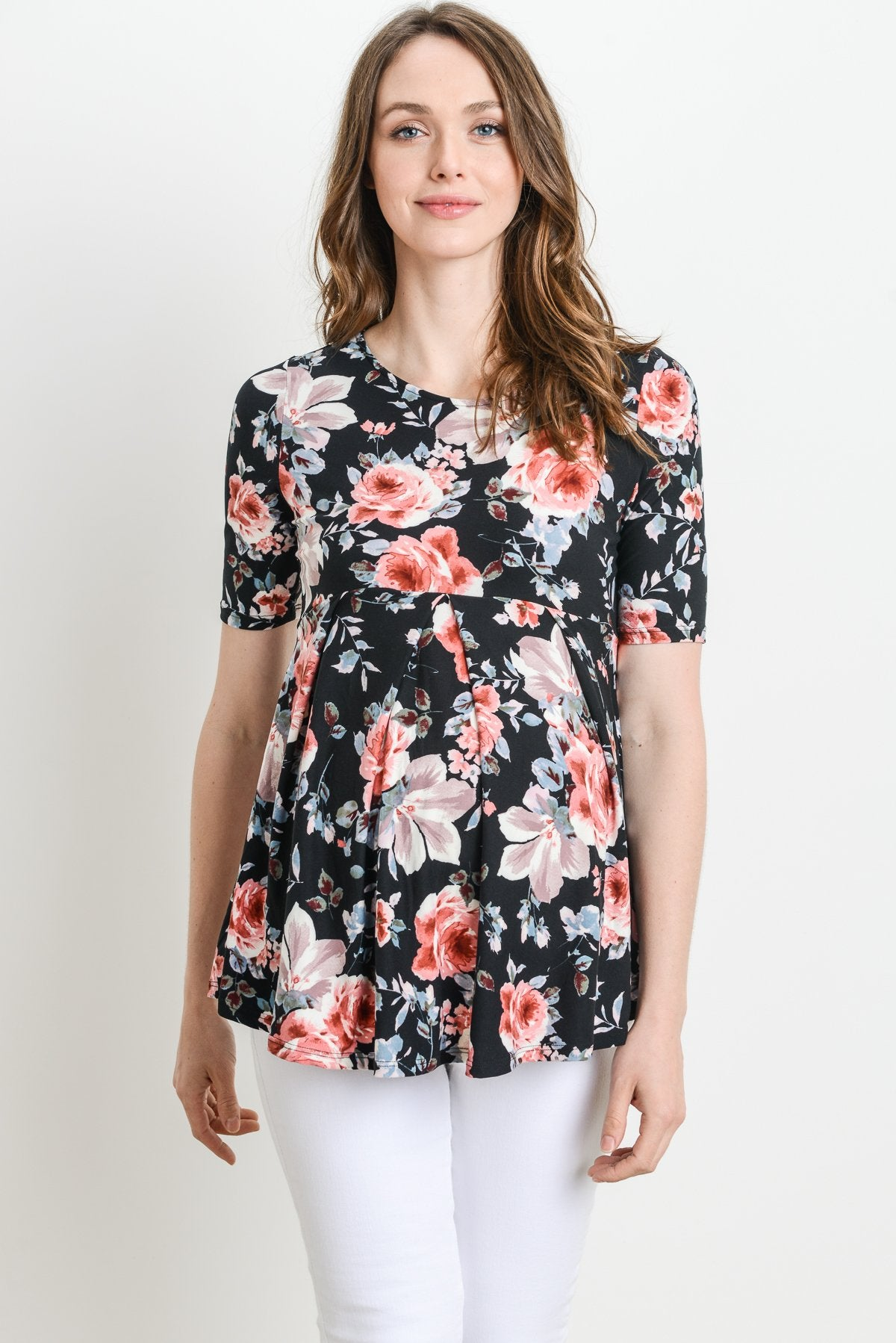 Black Rose Front Pleated Maternity Top