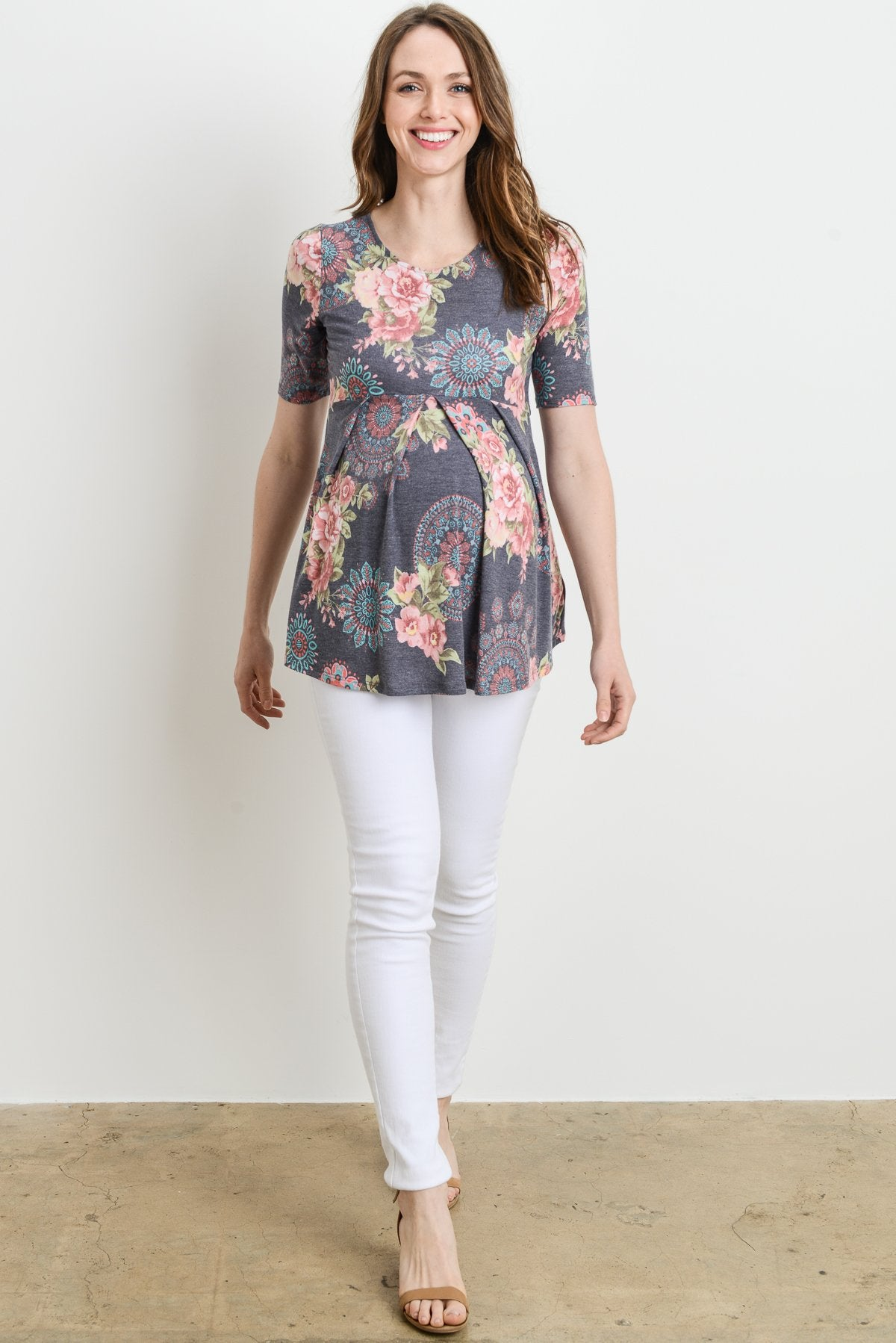 Medallion Front Pleated Maternity Top