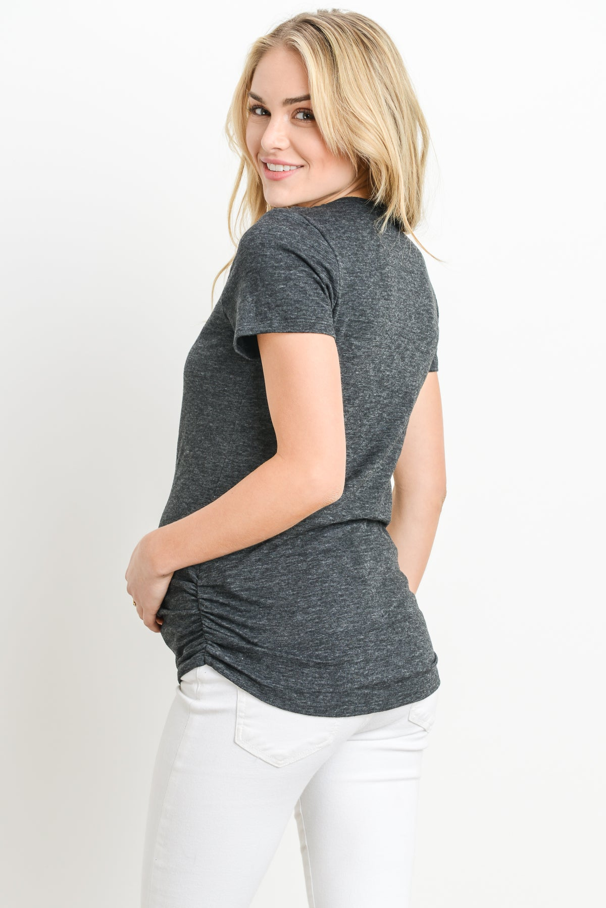 Ruched Scoop Neck Maternity & Nursing Heather Tee