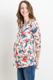 Floral Front Pleated 3/4 Sleeve Maternity Top