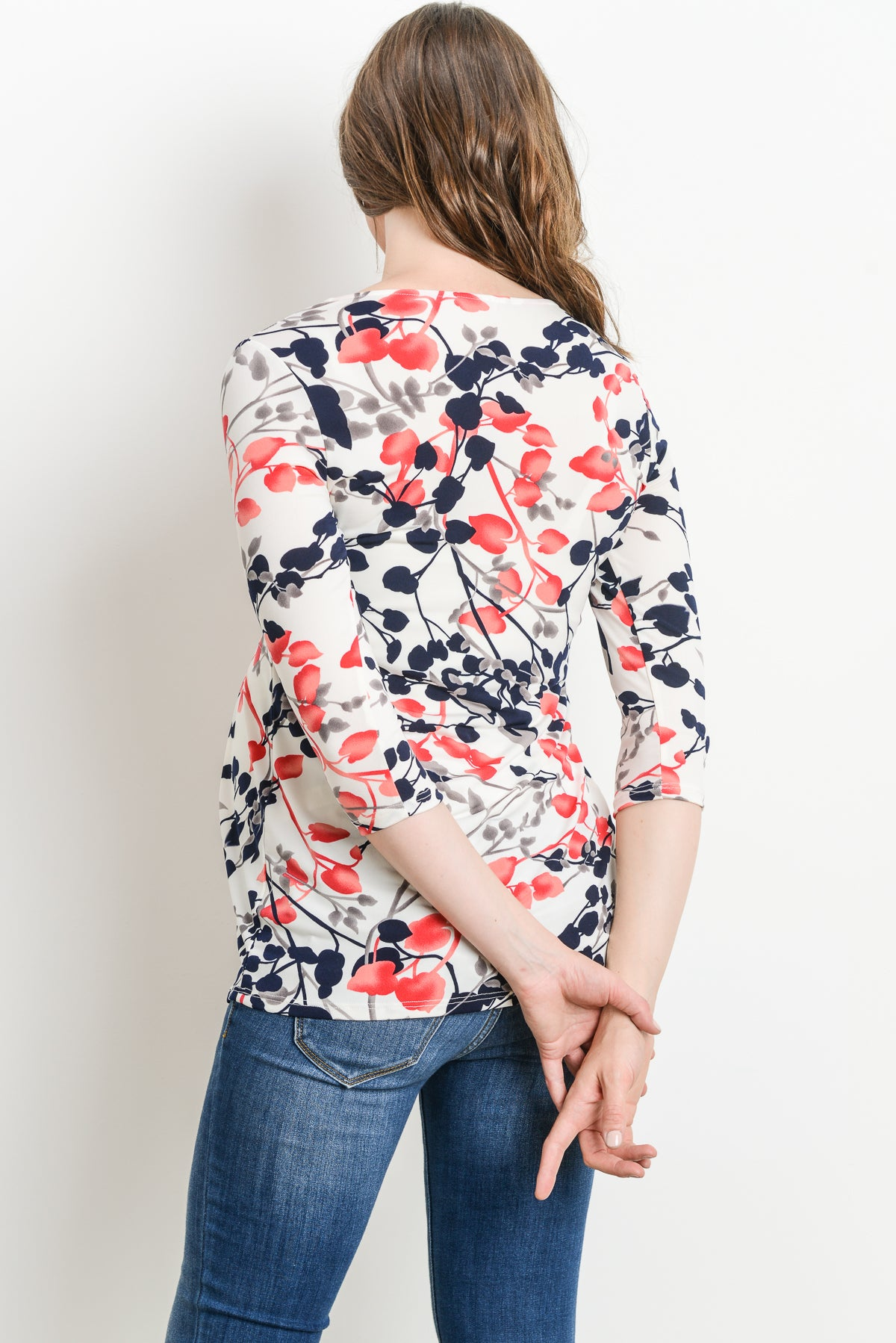 Painted Buds Pleated 3/4 Sleeve Maternity Top