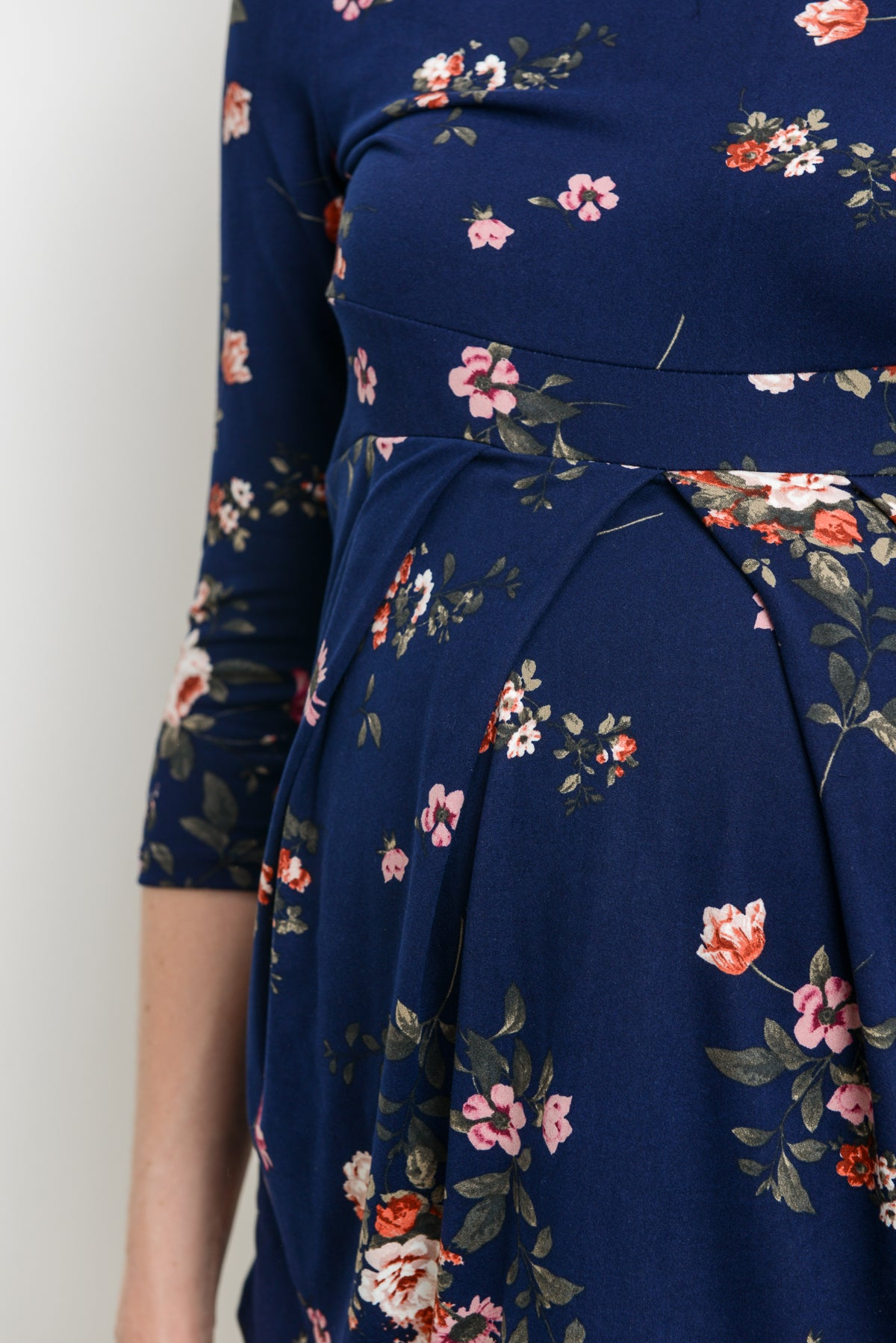 Navy Floral Round Neck Front Pleat Maternity Top
