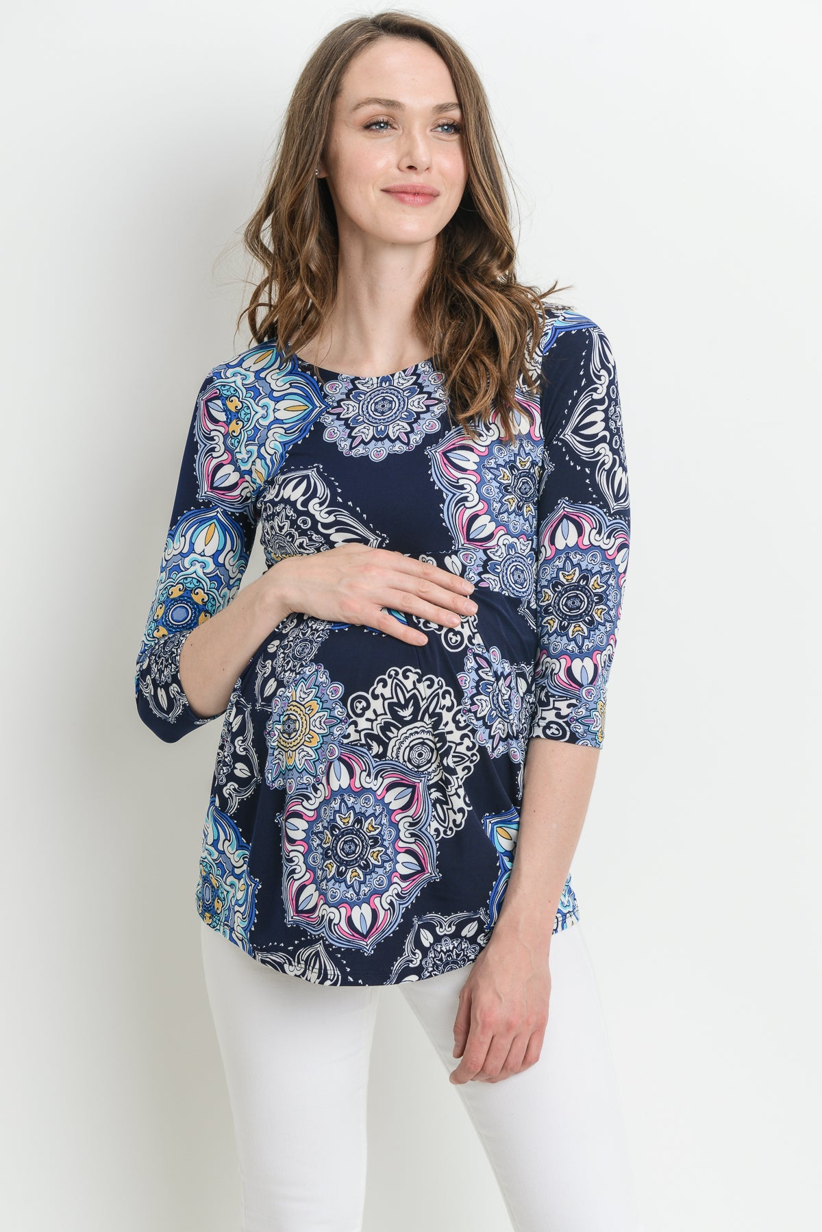 Paisley Round Neck Front Pleated Maternity Top