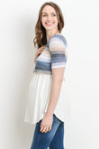 Multi Striped Color Block Maternity & Nursing Tunic