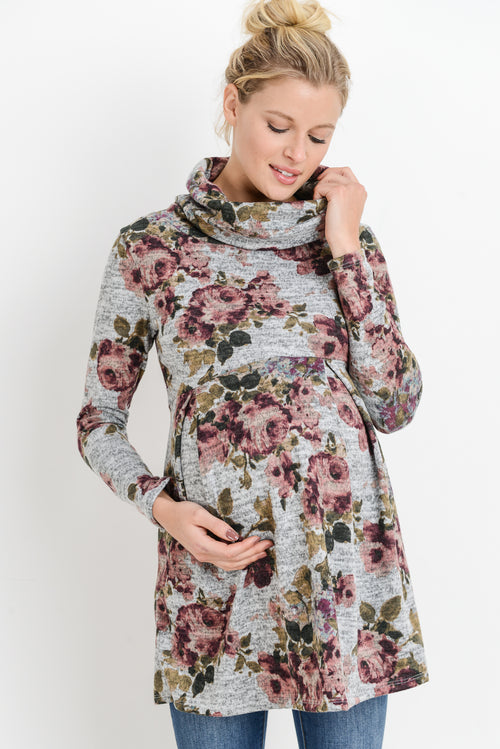 Floral Cowl Neck Maternity Tunic Top