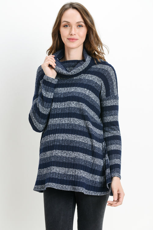Stripe Sweater Knit Cowl Neck Nursing/Maternity Top