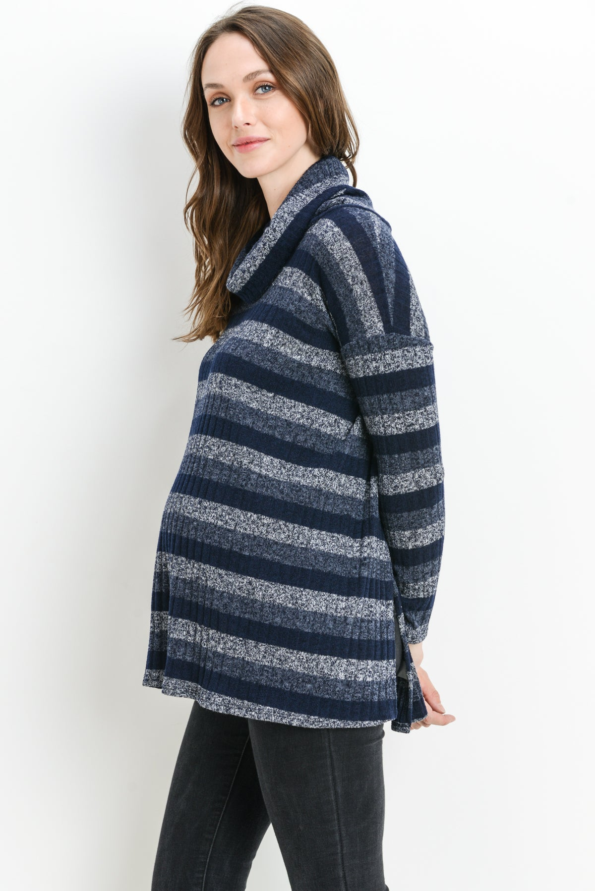 Striped Cowl Neck Loose Maternity & Nursing Sweater