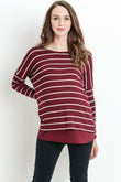 Stripe Long Sleeve Double Layer Nursing/Maternity Top