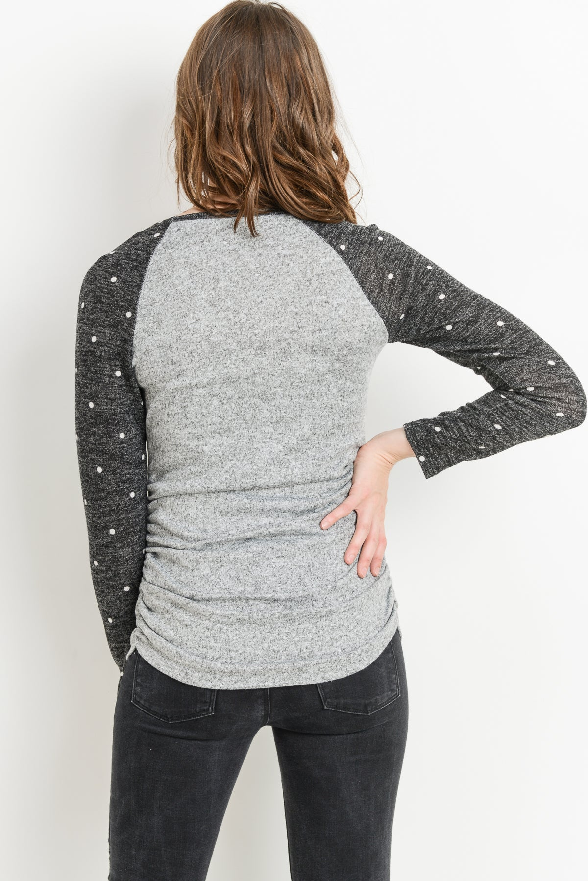 Polka Dot Sleeve Raglan Maternity Sweater Top