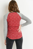 Polka Dot Raglan Sweater Knit Maternity Top