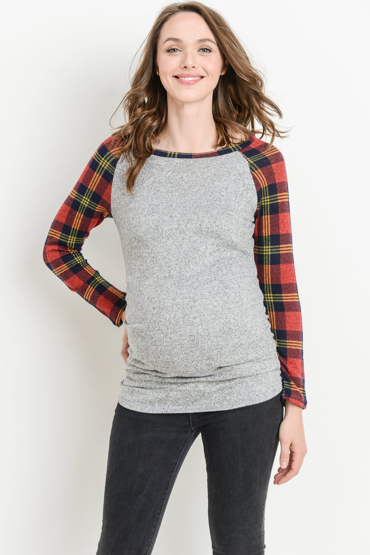 Plaid Sleeve Raglan Maternity Sweater Top