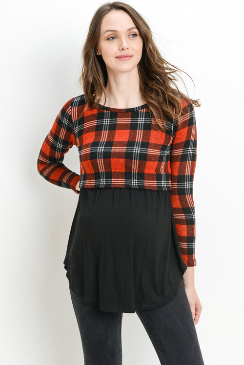 Plaid Color Block Sweater Knit Maternity/Nursing Top