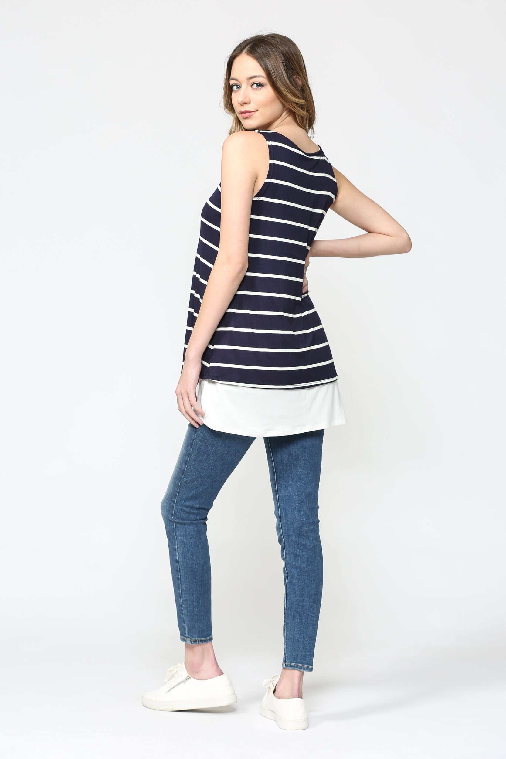 Striped Sleeveless Maternity/Nursing Top