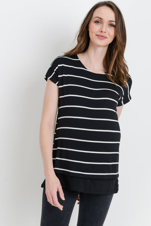 Double Layered Stripe Maternity & Nursing Top