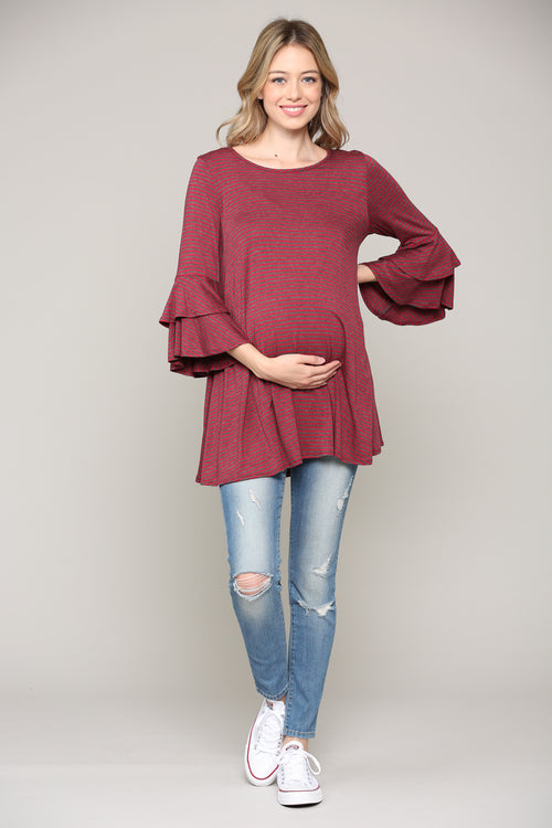 Double Ruffled Sleeve Round Neck Maternity Top